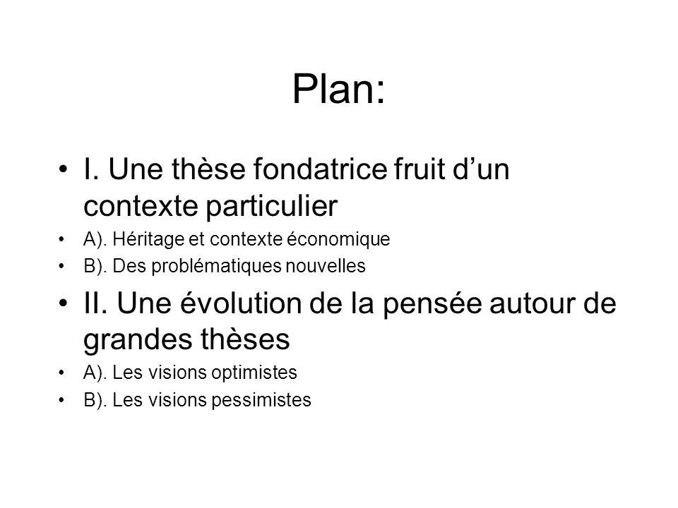 Plan: I. Une thèse fondatrice fruit d'un contexte particulier
