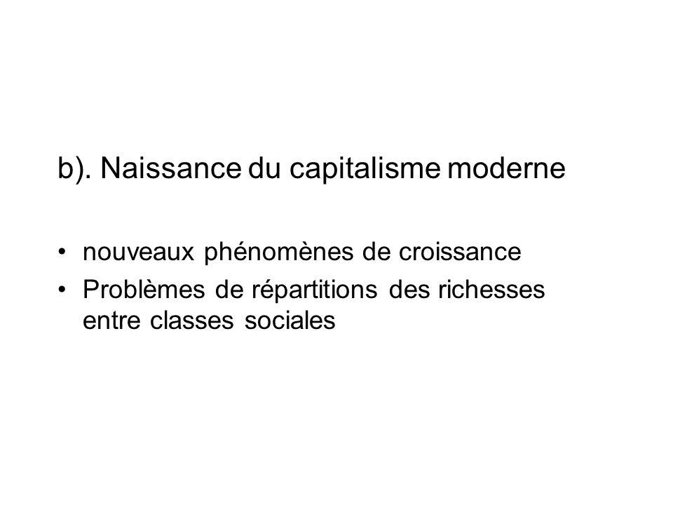 b). Naissance du capitalisme moderne
