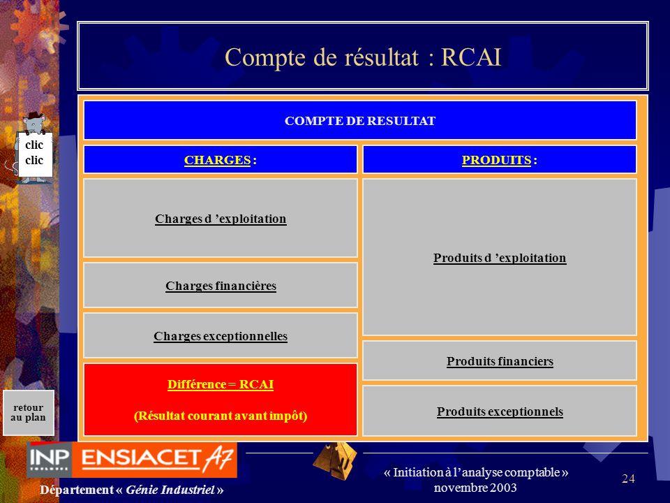 Compte de résultat : RCAI