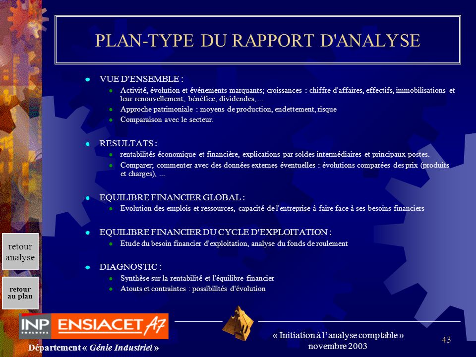 PLAN-TYPE DU RAPPORT D ANALYSE