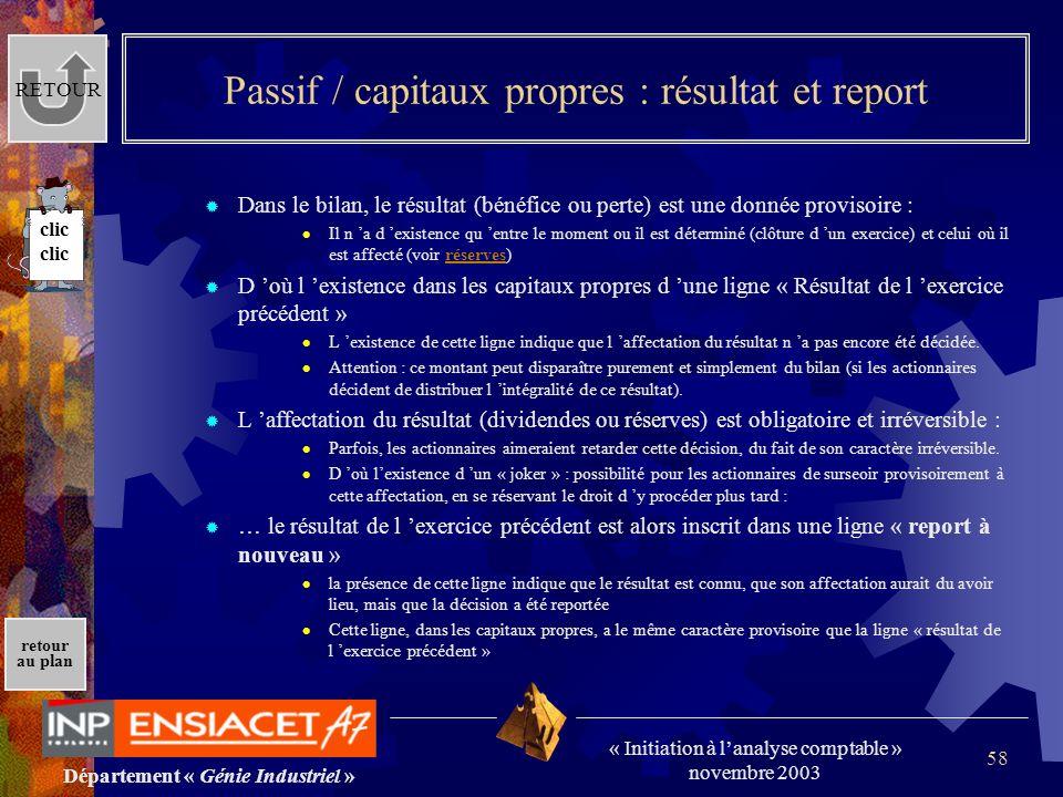 Passif / capitaux propres : résultat et report