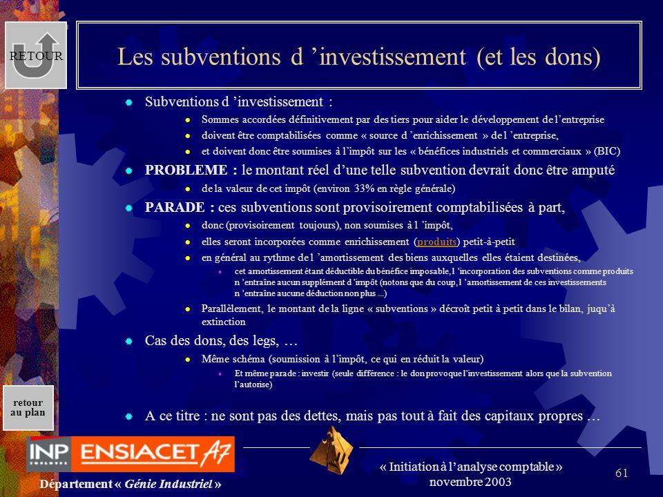 Les subventions d 'investissement (et les dons)