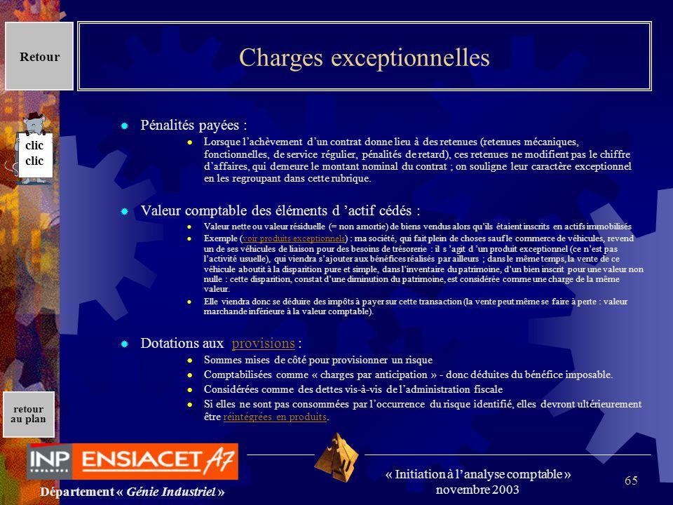 Charges exceptionnelles