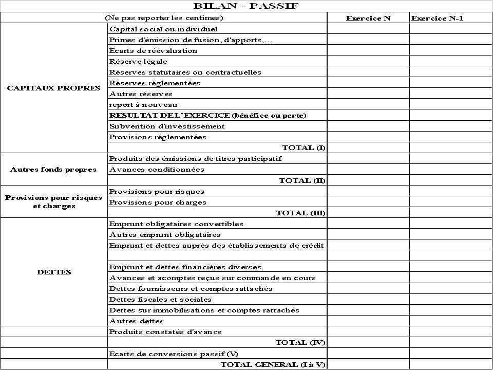 Annexe : passif du bilan