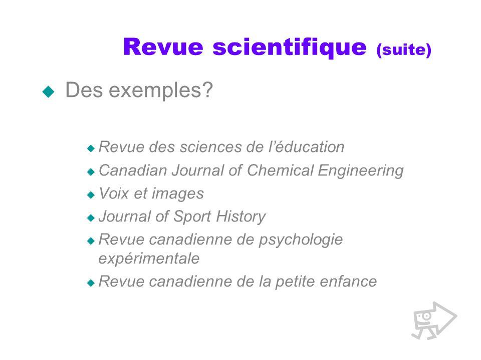 Revue scientifique (suite)