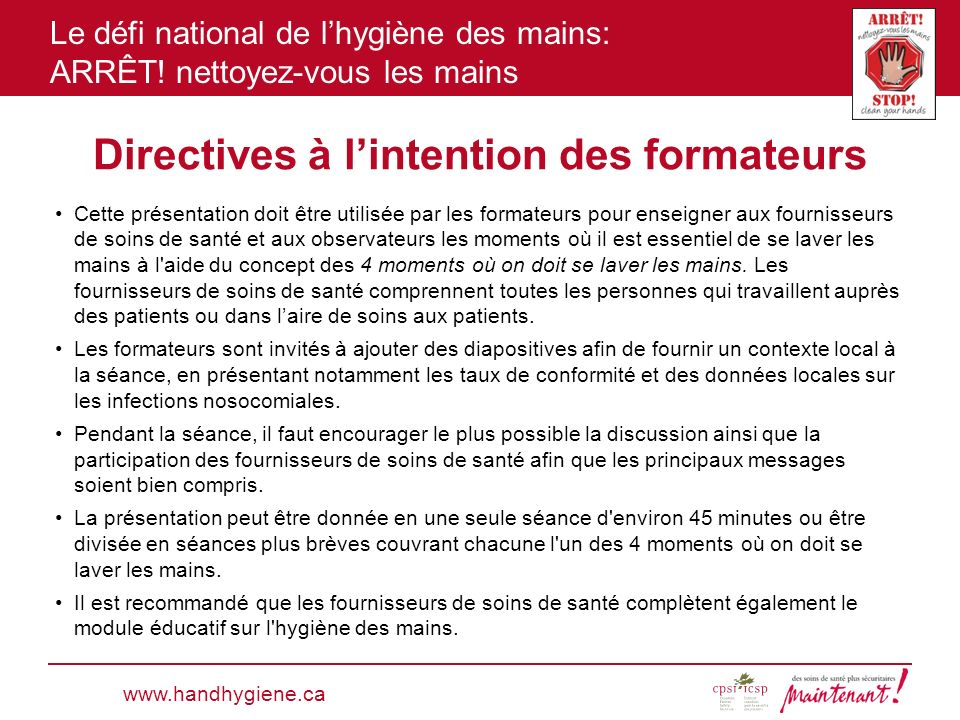 Directives à l'intention des formateurs