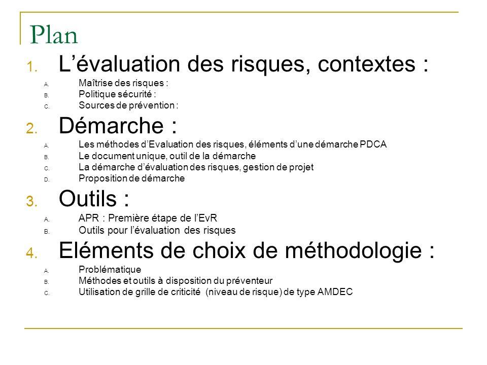 Plan L'évaluation des risques, contextes : Démarche : Outils :