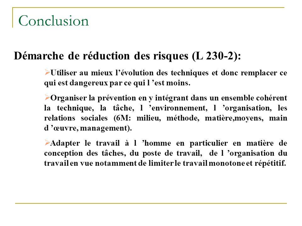 Conclusion Démarche de réduction des risques (L 230-2):