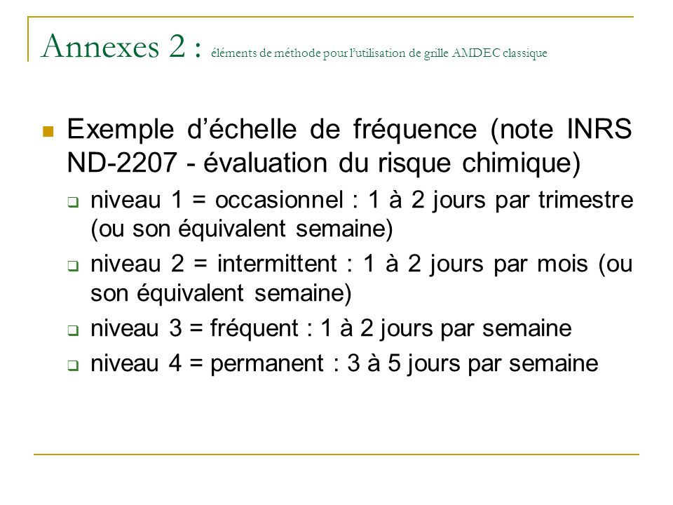 Annexes 2 : éléments de méthode pour l'utilisation de grille AMDEC classique