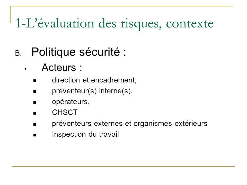 1-L'évaluation des risques, contexte