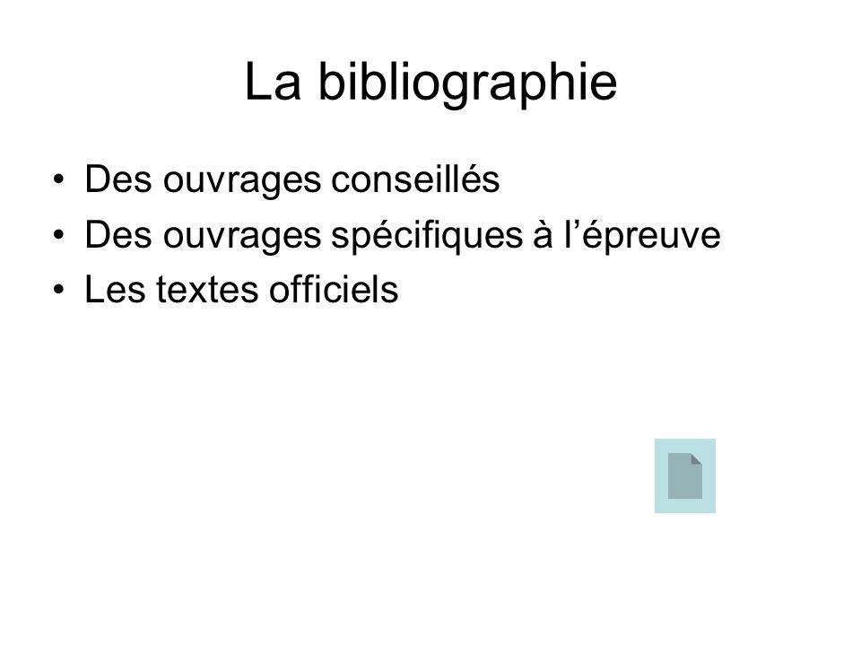 La bibliographie Des ouvrages conseillés