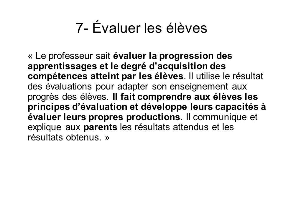 7- Évaluer les élèves