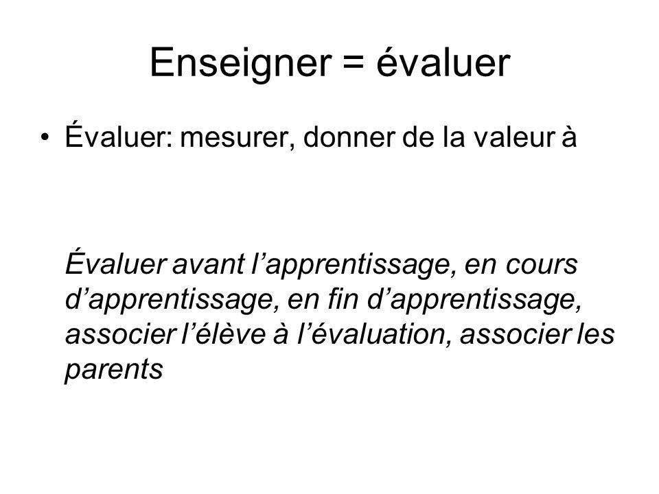 Enseigner = évaluer Évaluer: mesurer, donner de la valeur à
