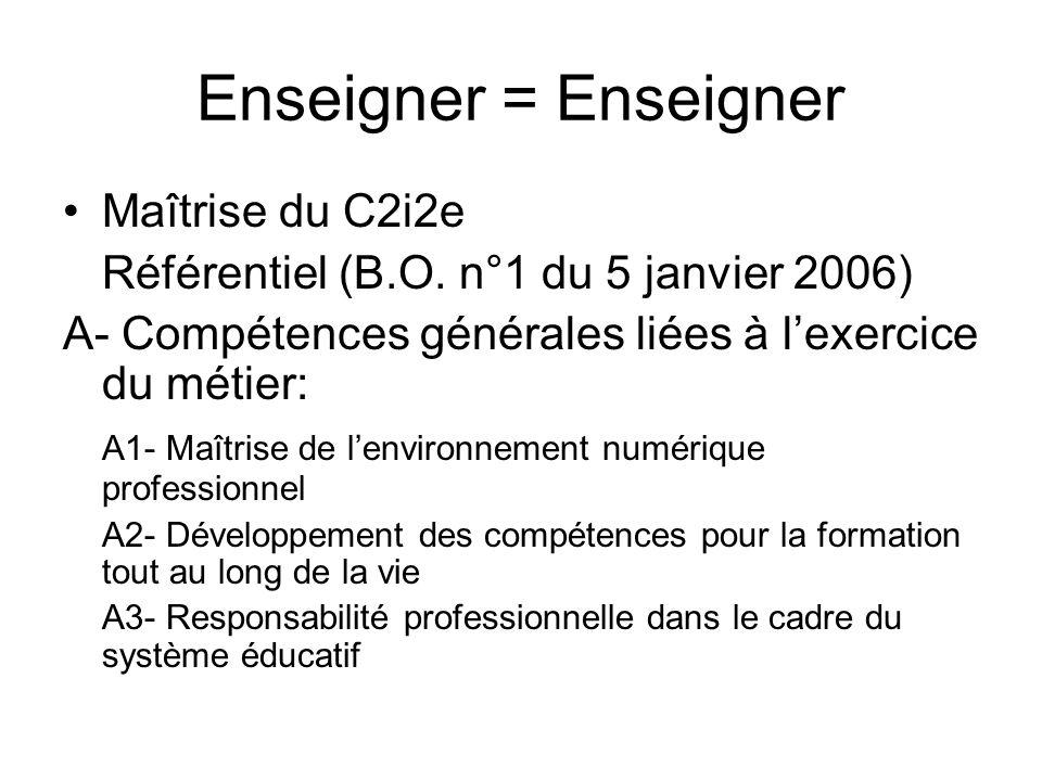 Enseigner = Enseigner Maîtrise du C2i2e