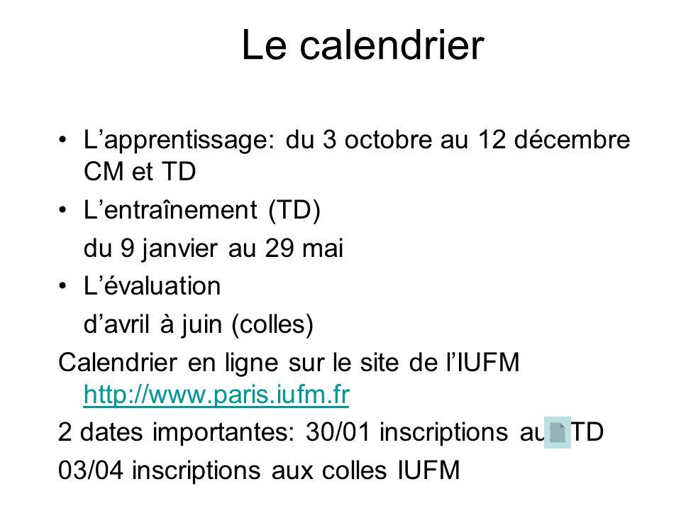 Le calendrier L'apprentissage: du 3 octobre au 12 décembre CM et TD