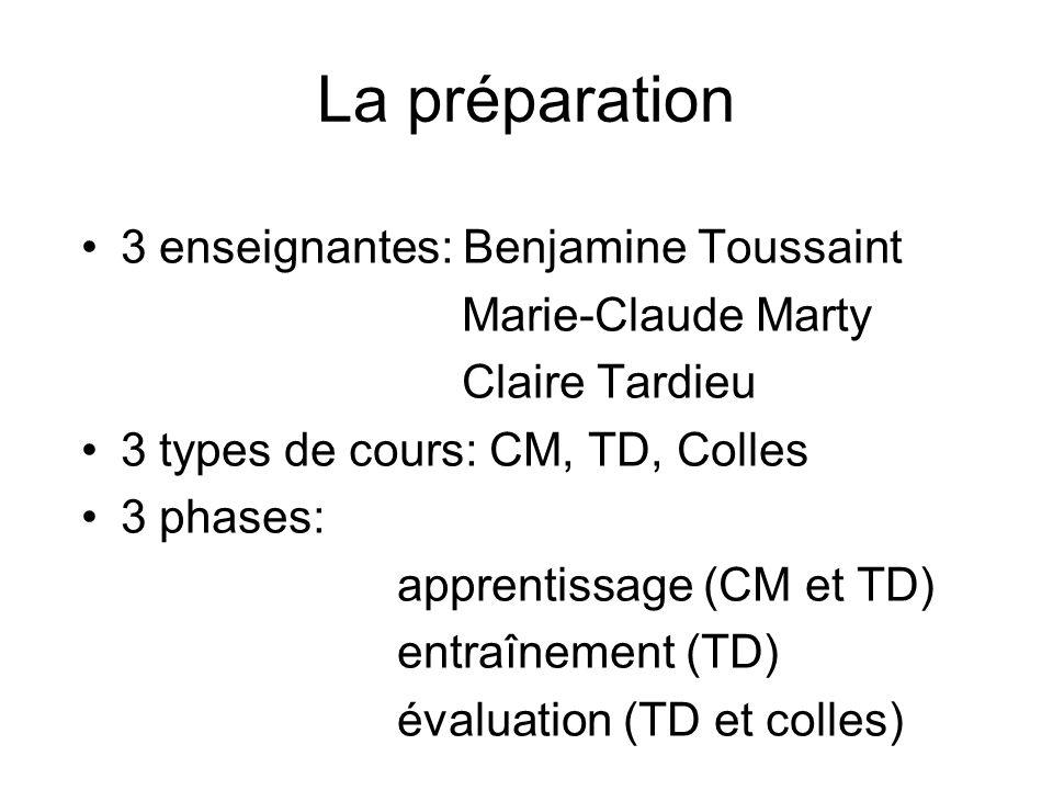 La préparation 3 enseignantes: Benjamine Toussaint Marie-Claude Marty