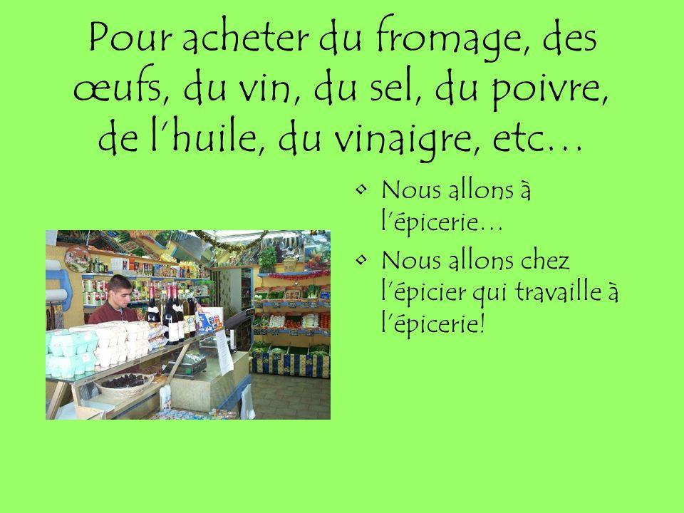 Pour acheter du fromage, des œufs, du vin, du sel, du poivre, de l'huile, du vinaigre, etc…
