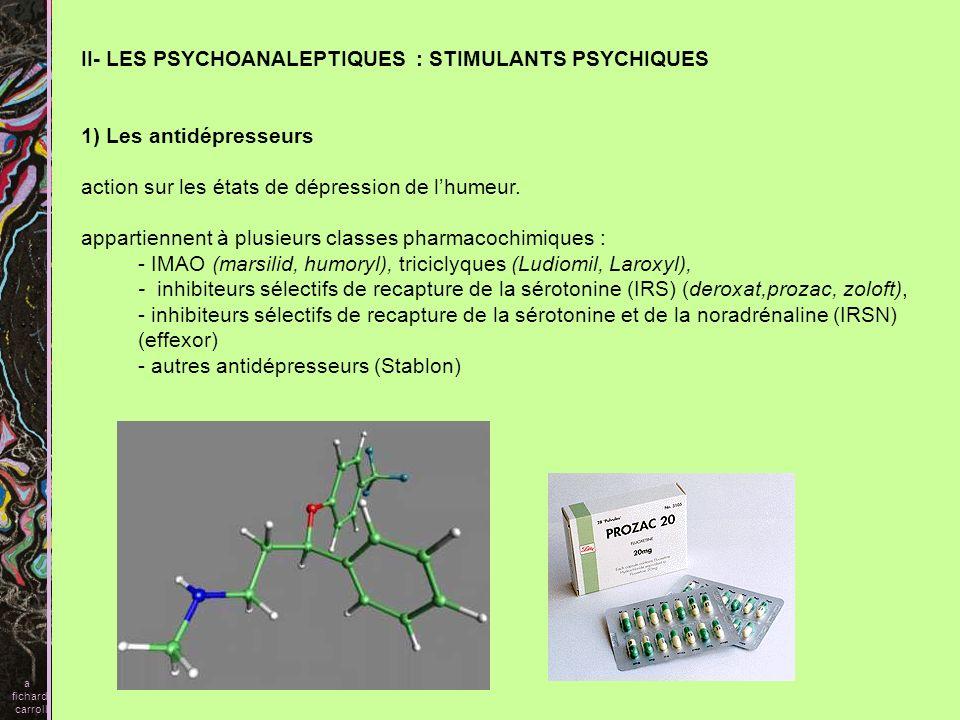 II- LES PSYCHOANALEPTIQUES : STIMULANTS PSYCHIQUES