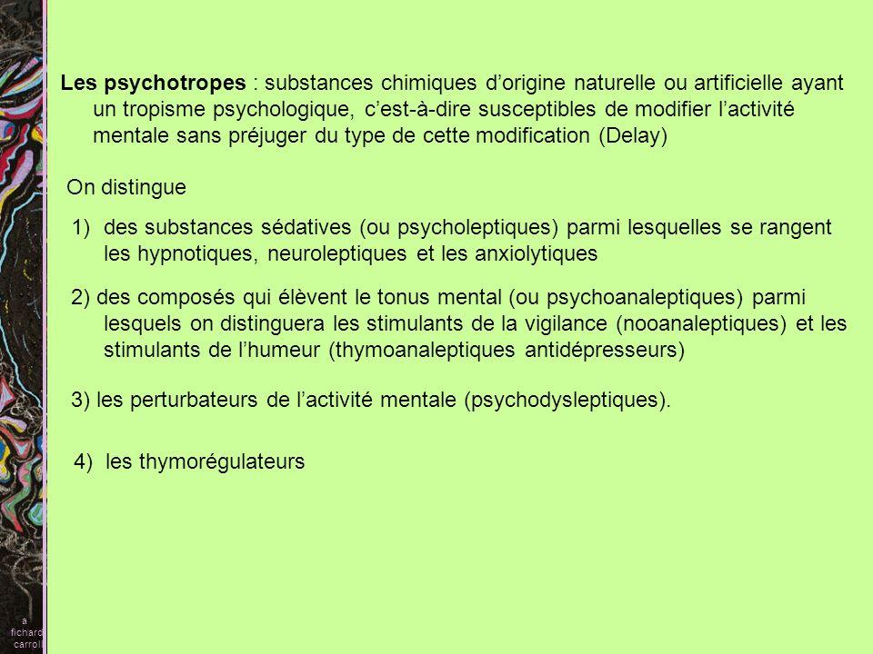 3) les perturbateurs de l'activité mentale (psychodysleptiques).