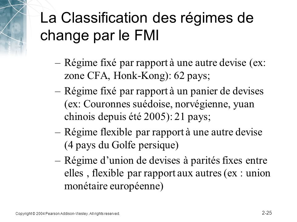 La Classification des régimes de change par le FMI