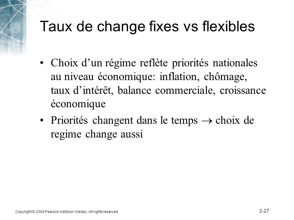 Taux de change fixes vs flexibles