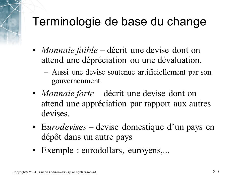 Terminologie de base du change