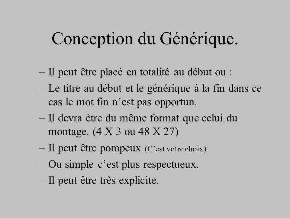 Conception du Générique.