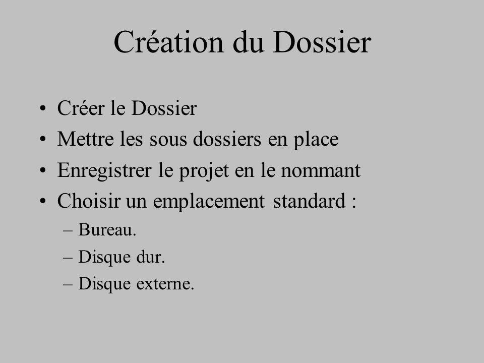 Création du Dossier Créer le Dossier Mettre les sous dossiers en place