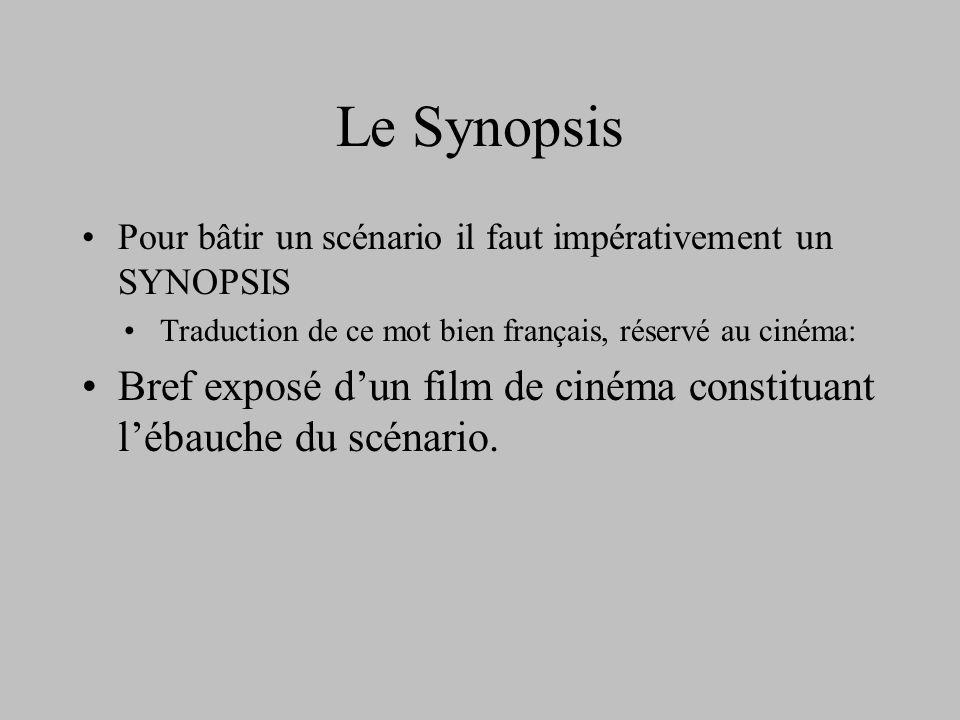 Le Synopsis Pour bâtir un scénario il faut impérativement un SYNOPSIS. Traduction de ce mot bien français, réservé au cinéma: