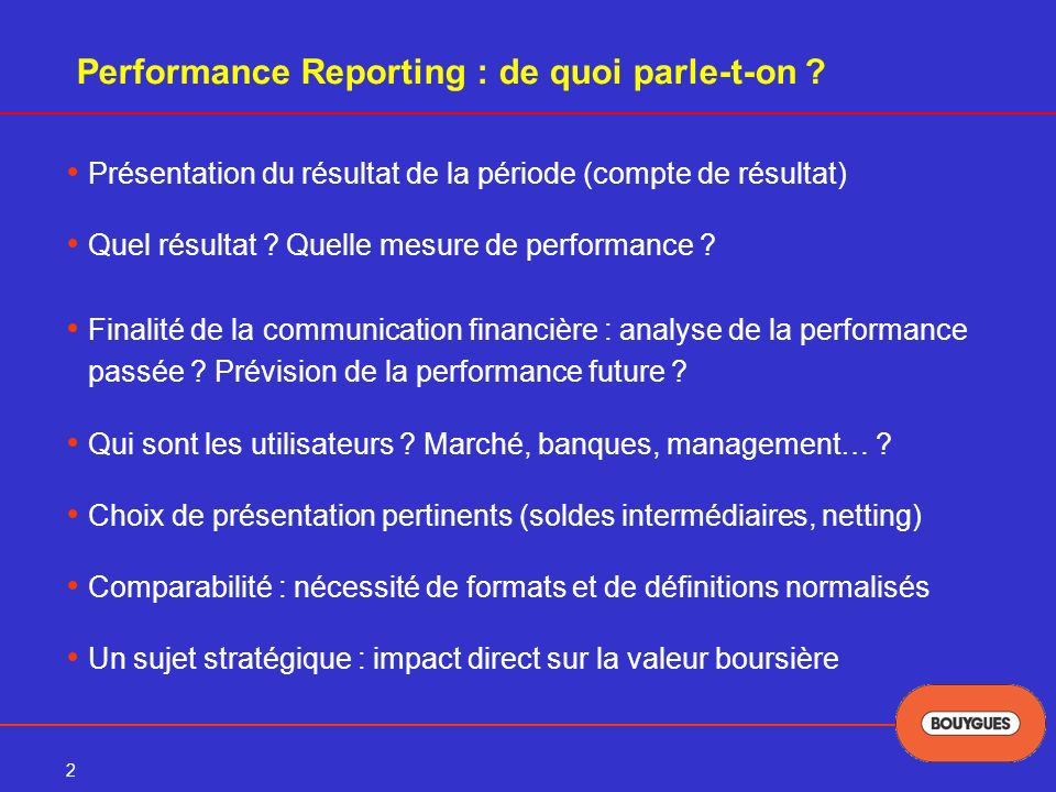 Performance Reporting : de quoi parle-t-on