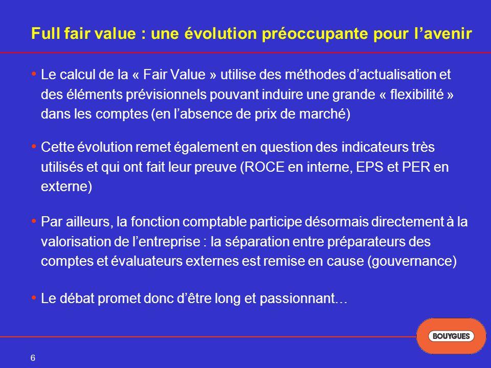 Full fair value : une évolution préoccupante pour l'avenir
