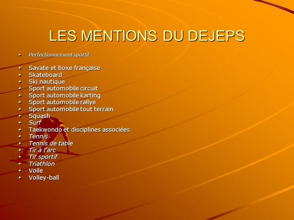 LES MENTIONS DU DEJEPS Savate et boxe française Skateboard