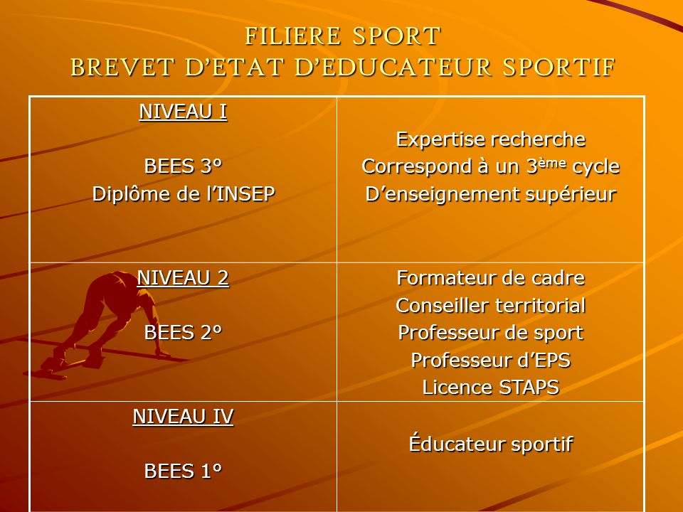 FILIERE SPORT BREVET D'ETAT D'EDUCATEUR SPORTIF