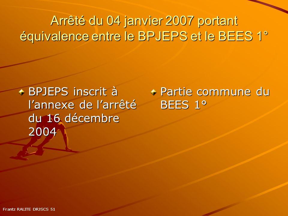 Arrêté du 04 janvier 2007 portant équivalence entre le BPJEPS et le BEES 1°