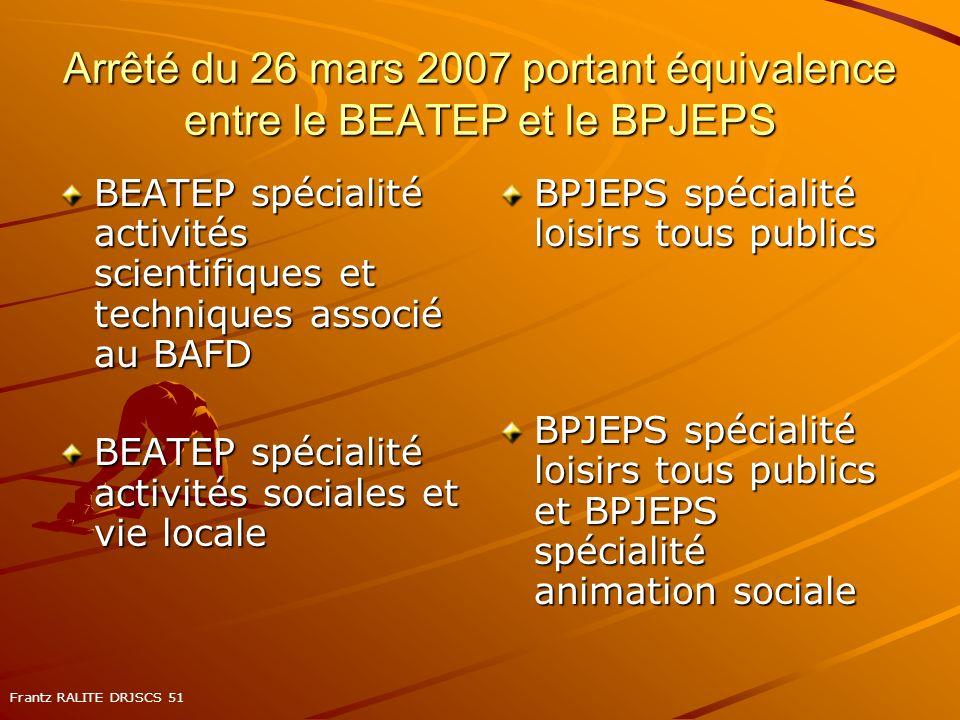 Arrêté du 26 mars 2007 portant équivalence entre le BEATEP et le BPJEPS