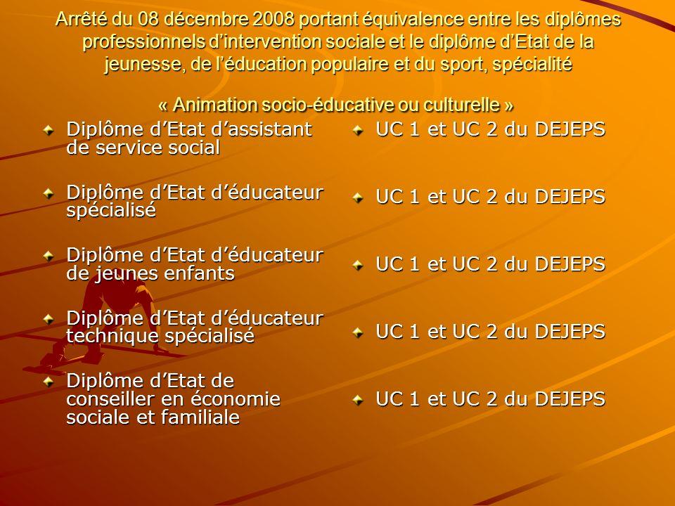 Arrêté du 08 décembre 2008 portant équivalence entre les diplômes professionnels d'intervention sociale et le diplôme d'Etat de la jeunesse, de l'éducation populaire et du sport, spécialité « Animation socio-éducative ou culturelle »