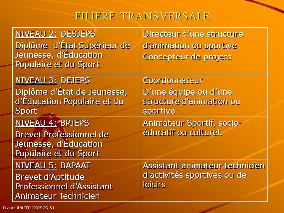 FILIERE TRANSVERSALE NIVEAU 2: DESJEPS