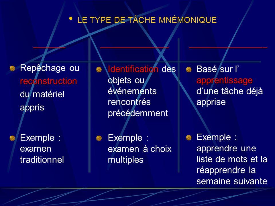 LE TYPE DE TÂCHE MNÉMONIQUE