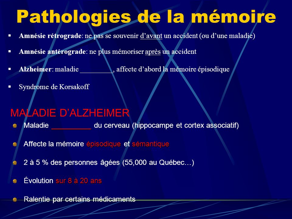Pathologies de la mémoire