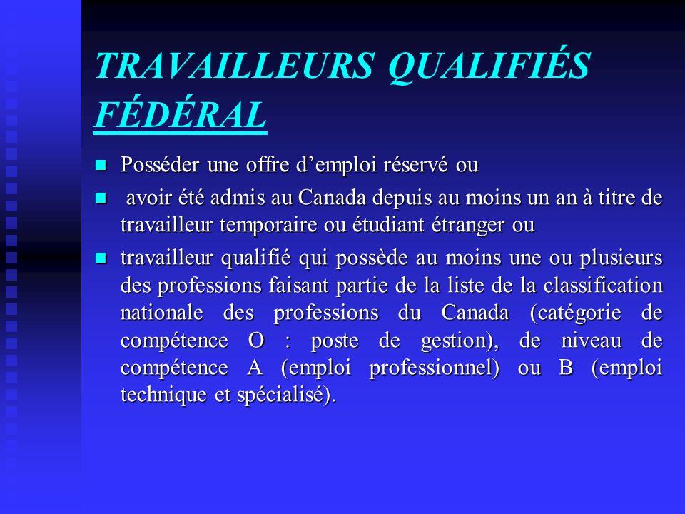 TRAVAILLEURS QUALIFIÉS FÉDÉRAL