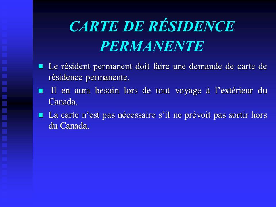 CARTE DE RÉSIDENCE PERMANENTE