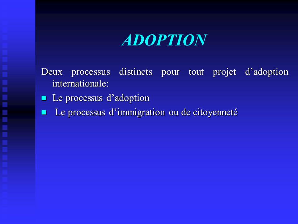 ADOPTION Deux processus distincts pour tout projet d'adoption internationale: Le processus d'adoption.