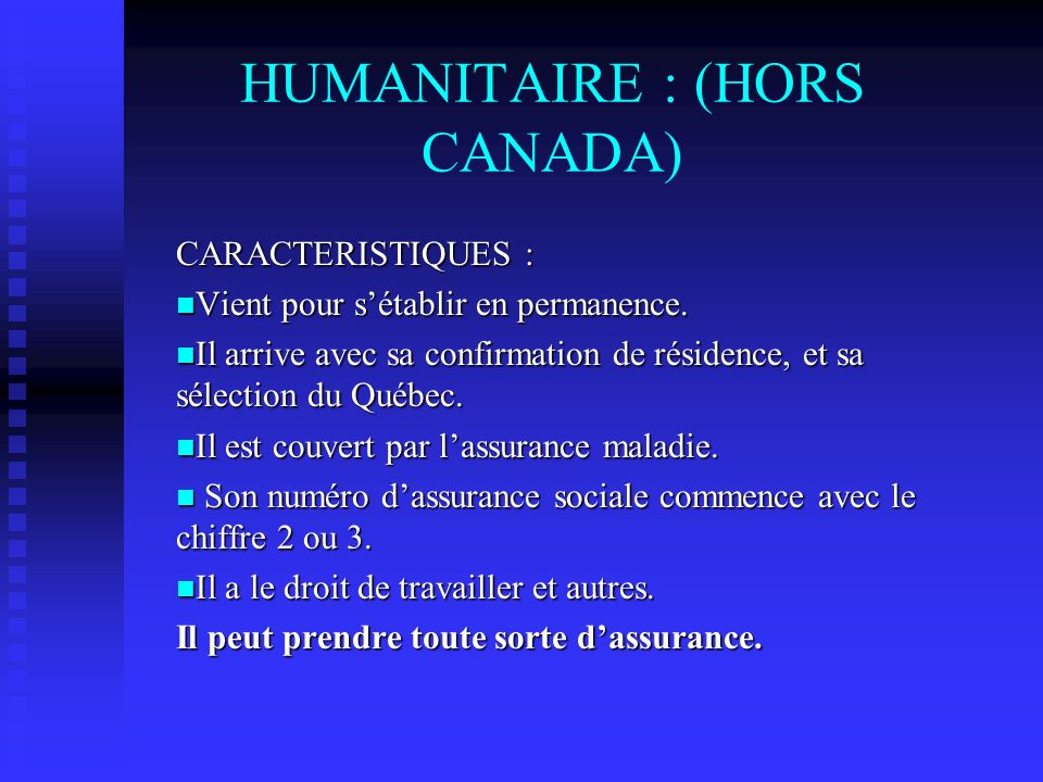 HUMANITAIRE : (HORS CANADA)