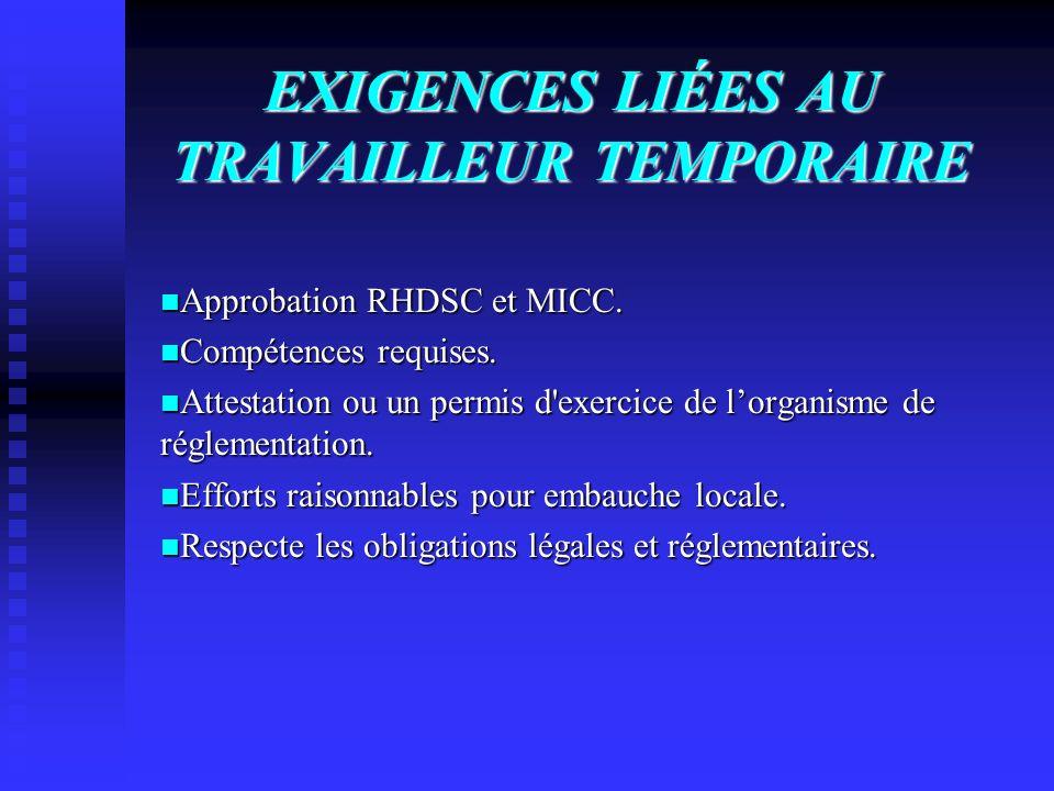 EXIGENCES LIÉES AU TRAVAILLEUR TEMPORAIRE