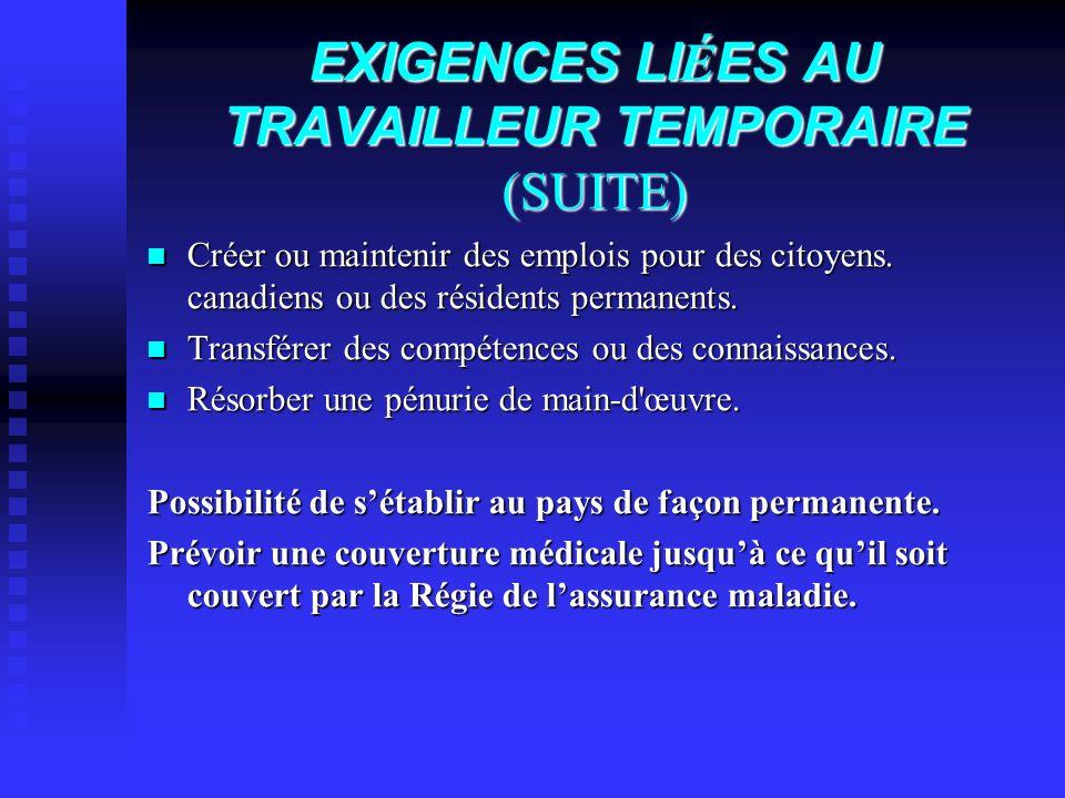 EXIGENCES LIÉES AU TRAVAILLEUR TEMPORAIRE (SUITE)