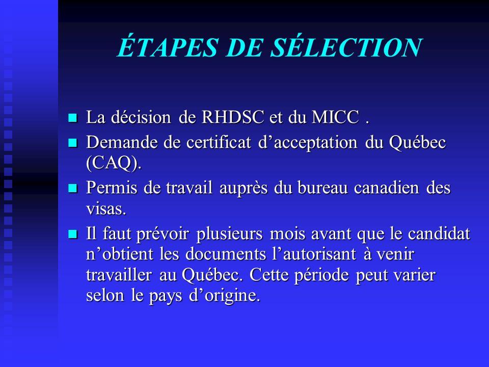 ÉTAPES DE SÉLECTION La décision de RHDSC et du MICC .