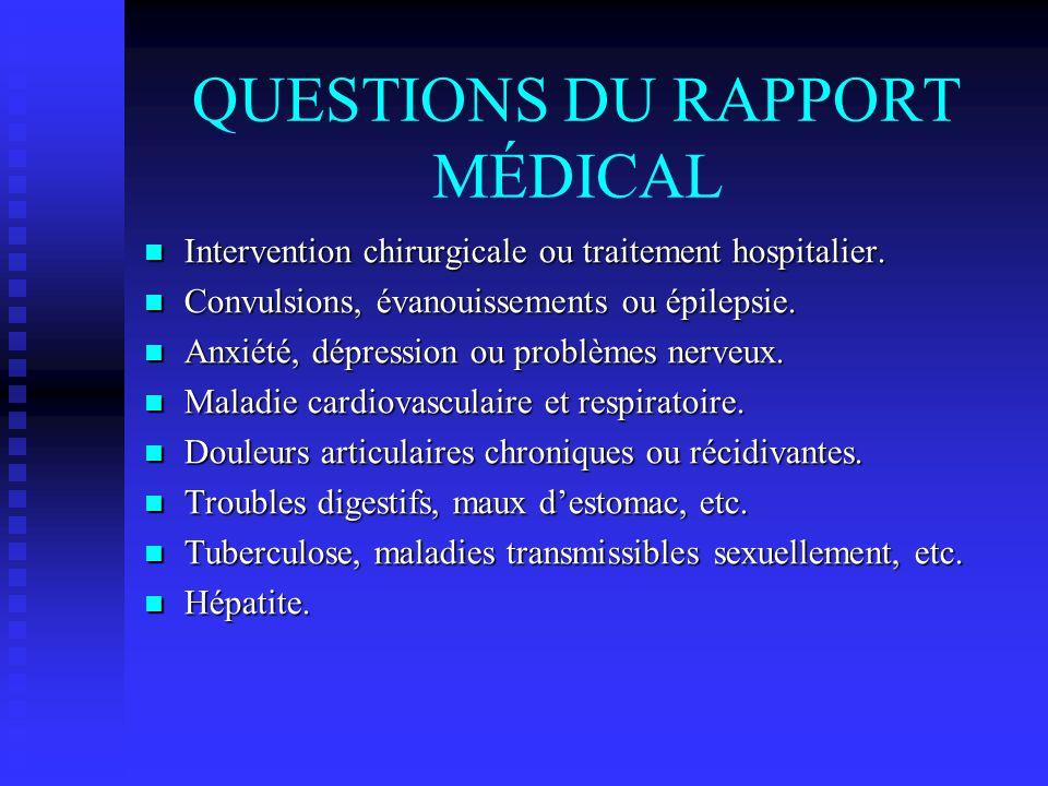 QUESTIONS DU RAPPORT MÉDICAL