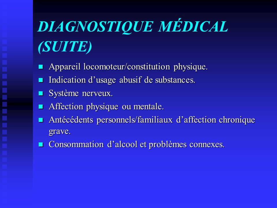 DIAGNOSTIQUE MÉDICAL (SUITE)