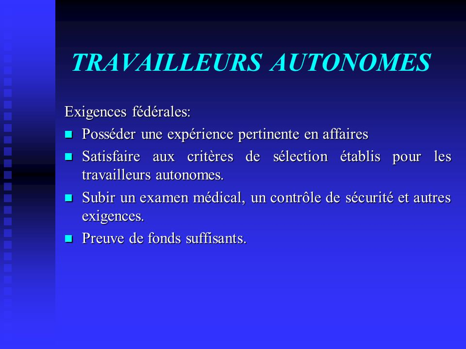 TRAVAILLEURS AUTONOMES