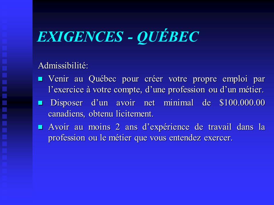 EXIGENCES - QUÉBEC Admissibilité: